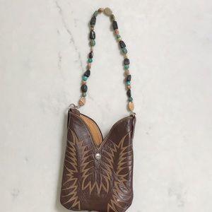 Handbags - Purse make from Nocona cowboy boot w/ bead handle